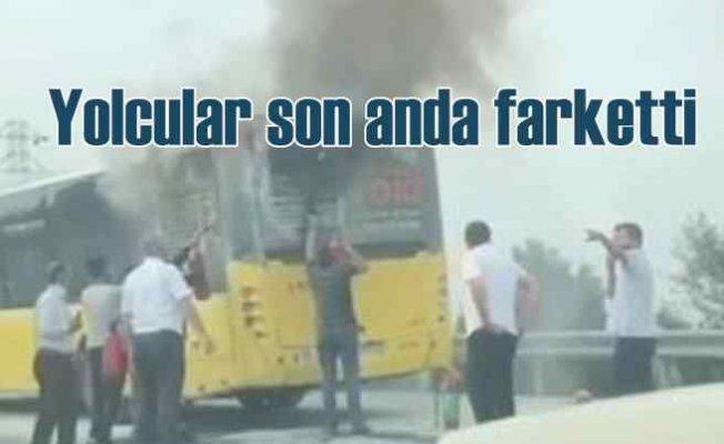 İETT yolcu otübüsünde korkutan yangın
