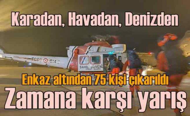 İzmir'de deprem   Yıkılan 17 bina enkazında zamana karşı yarış