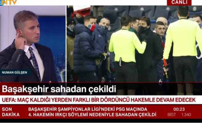Hakemin ırkçı sözlerine Başakşehir'den sert tepki   Sahayı terk etti