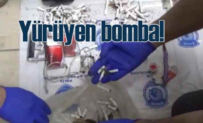 Teröristin eşofman lastiği bomba fitili çıktı