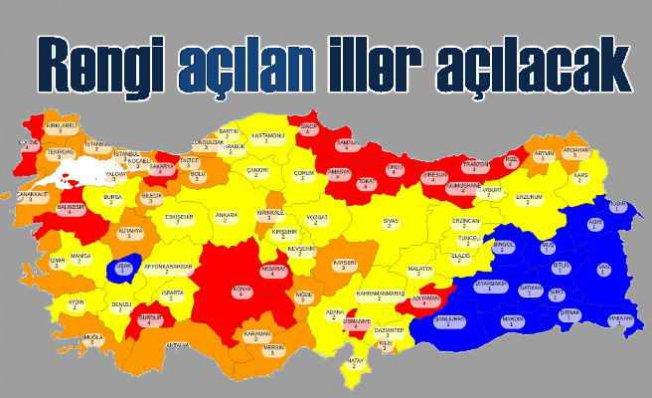 Türkiye haritadaki rengine göre açılacak