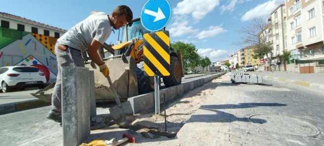 Lüleburgaz | Eski İstasyon Caddesi'nde refüj çalışması