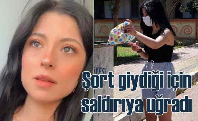 Şortla çöp atmaya çıkan genç kıza maganda saldırısı