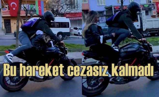 Motosiklette tehlikeli hareketi polis affetmedi, fenomene ceza