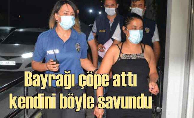 Türk Bayrağı'nı indirip çöpe atan kadın yakalandı