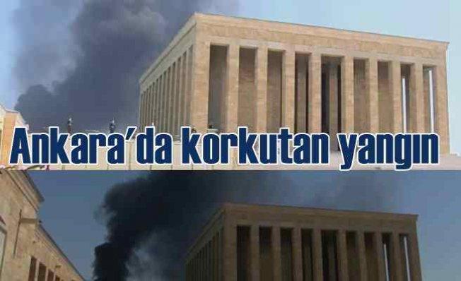 Ankara'da korkutan yangın   Dumanlar Anıtkabir üstüne ulaştı