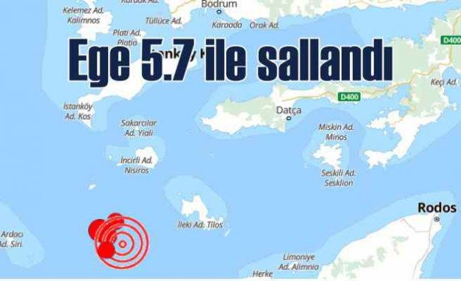 Ege'de deprem   Deprem fırtınası 4.8 ile ba,şladı, 5.7'yi gördü