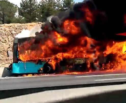TEM'de Halk otobüsünda yangın, 3 ölü var