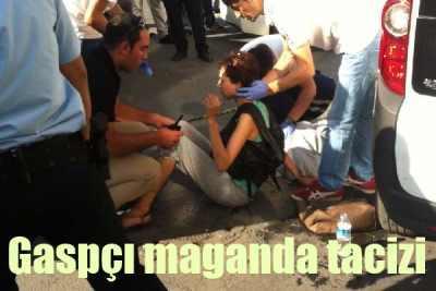 Taksimde gaspçı magandalar evli çifte saldırdı