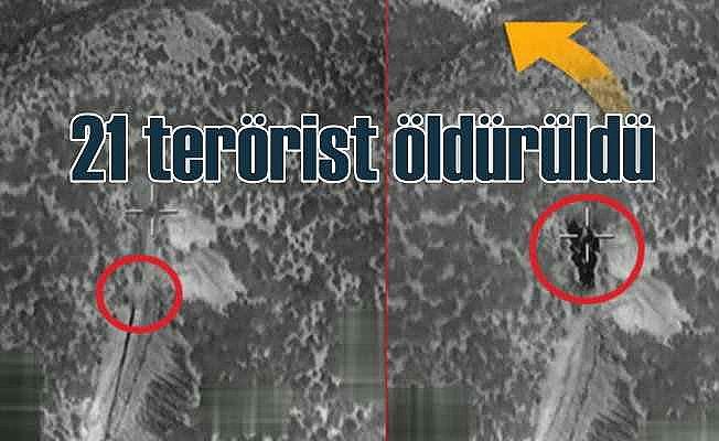 Kuzey Irak'a yönelik hava operasyonu, 21 terörist öldürüldü
