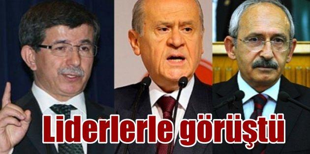 Başbakan Ahmet Davutoğlu, Kılıçdaroğlu ve Bahçeli ile görüştü