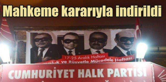 CHP İL BİNASINA ASILAN PANKART MAHKEME KARARIYLA İNDİRİLDİ