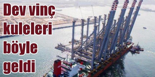 Çinden yola çıkan dev vinçler Kocaeli Dubai Port Limanına ulaştı