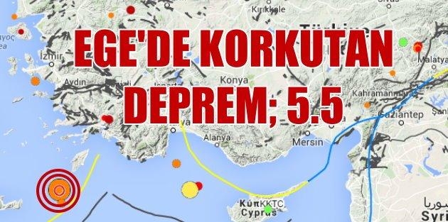 Ege Denizi'nde son deprem korkuttu 5.5