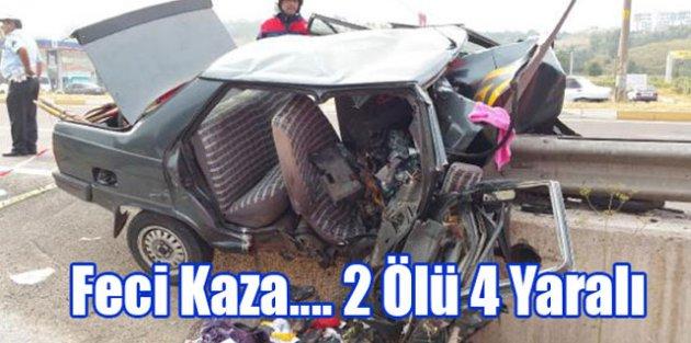 Feci Kaza….Bariyerlere Saplandı.2 ölü 4 Yaralı