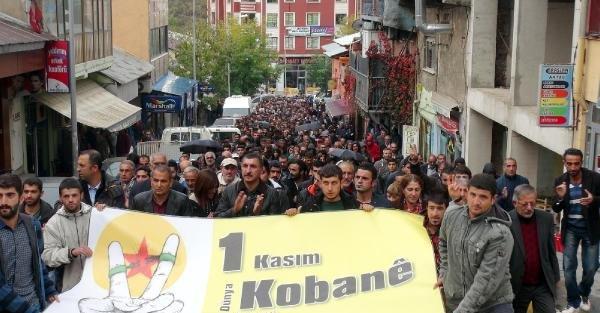 Güneydoğu'da Kobani'ye Destek Yürüyüşleri Yapıldı