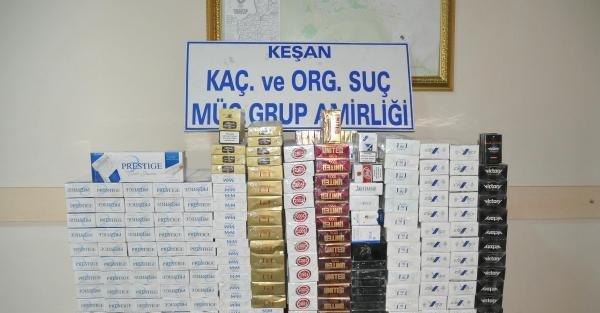 Keşan'da 2 Bin 78 Paket Kaçak Sigara Ele Geçirildi