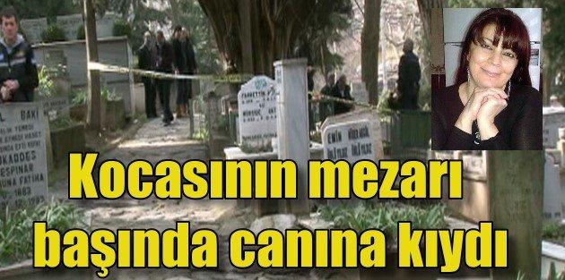 Kocasının mezarı başında intihar etti