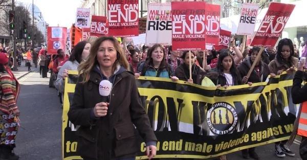 Londra'da 'kadına şiddet'e davullu protesto