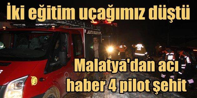 Malatyada iki eğitim uçağı düştü, 4 şehit var