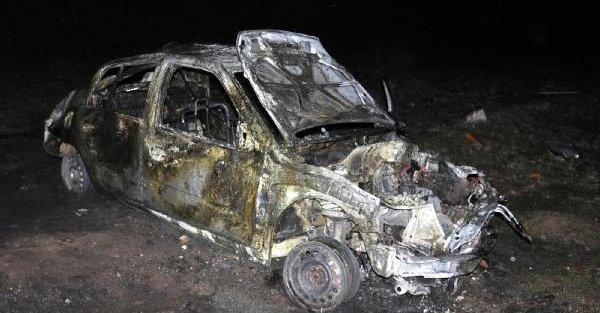 Otomobil takla atıp yandı: 1 ölü, 2 yaralı