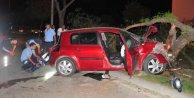 Adana'da ağaca çarpan araç kullanılamaz hale geldi