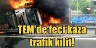 TEM Otoyolu#039;nda TIR kazası kazası,  1 ölü, 4 yaralı var