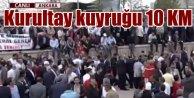 Ankara'da Kurultay kuyruğu; Hava alanı yolunda insan seli