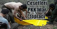 Öldürülen teröristlerin cesetlerini yakalanan PKK#039;lılar topladı