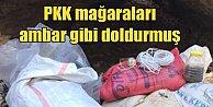 PKK'lı teröristler için tonlarca yiyecek depolanmış
