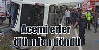 Samsun'da acemi erleri taşıyan otobüs devrildi, çok sayıda yaralı var