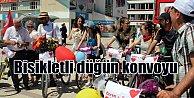Erzincan'da bisikletli düğün konvoyu