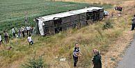 Amasya'da yolcu otobüsü devrildi