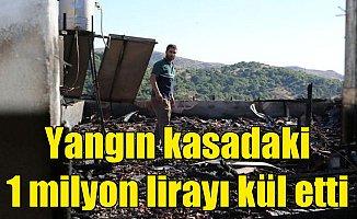 Mandırada yangın; Kasada bırakılan 1 milyon lira kül oldu