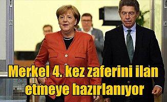 Merkel 4. kez zaferini ilan etmeye hazırlanıyor