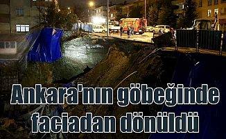 Ankara'nın göbeğinde toprak kaydı, su borulara patladı