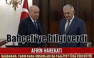 Başbakan Yıldırım; Afrin'e kara operasyonu yarın