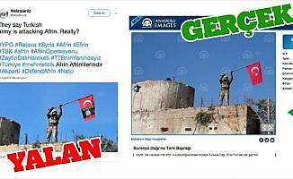 PYD/PKK yandaşları Türk bayrağına montajla yalan üretti