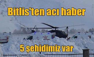 Son Dakika Bitlis; Bitlis'te çığ faciası 5 şehidimiz var