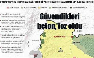 Terör örgütü PYD/PKK'nın Burseya Dağı'ndaki 'betonarme savunması' fayda etmedi