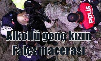 Alkollü genç kızın Falezlere'e tırmandı, ekipler harekete geçti