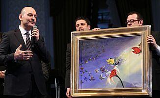İçișleri Bakanı Soylu'nun kelebek hastaları için yaptığı resim 500 bin liraya satıldı