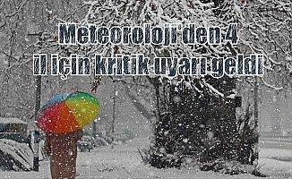 Meteorolojiden 4 il için yoğun kar yağışı uyarısı