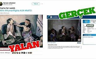 PYD/PKK destekçileri AA'nın Doğu Guta fotoğrafını Afrin gibi paylaştı