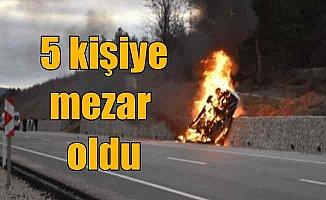 Tokat Niksar yolunda feci kaza: Yanan araç 5 kişiye mezar oldu