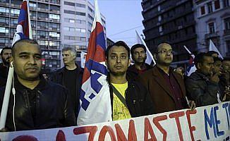 Yunanistan'da asgari ücret gösterisi