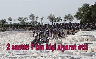 Pamukkale'yi 2 saatte 7 bin kişi ziyaret etti
