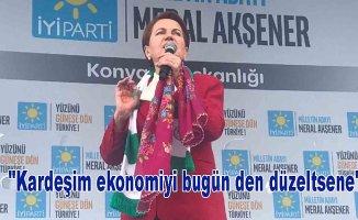 """Akşener """"Kardeşim ekonomiyi bugün den düzeltsene"""""""