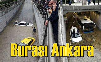Ankara'yı dolu ve sel vurdu; 15 dakikası yetti