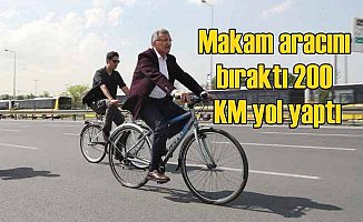 Makam aracını bıraktı, bisiklete bindi, 200 KM yol yaptı